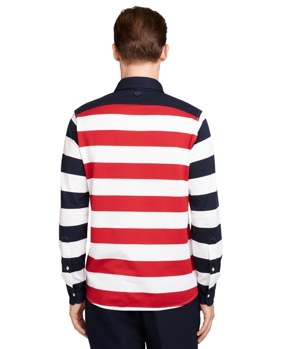 Men 39 s red white and blue long sleeve striped polo shirt for Red white striped polo shirt