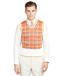 Madras Tipped Sweater Vest