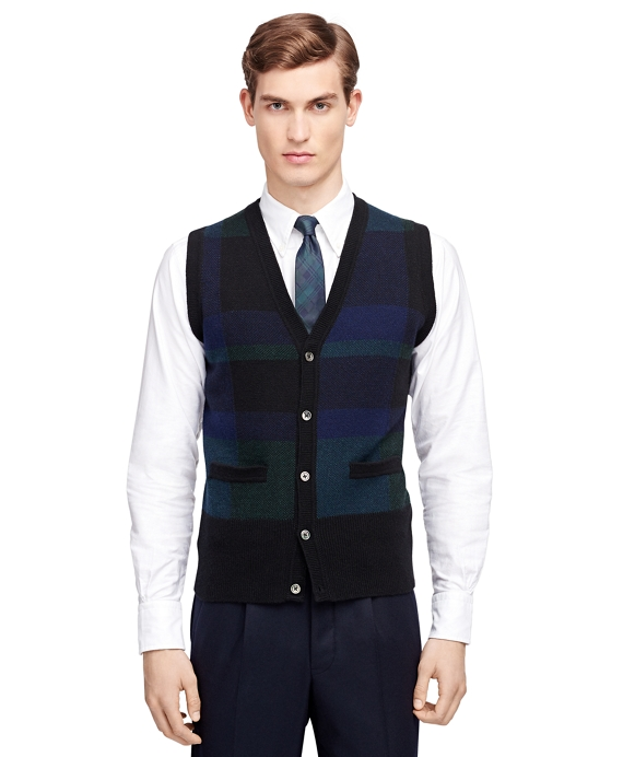 Men's Black, Navy, and Green Plaid Button-Front Sweater Vest ...