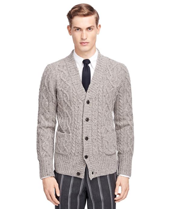 Shawl Collar Cable Cardigan Grey