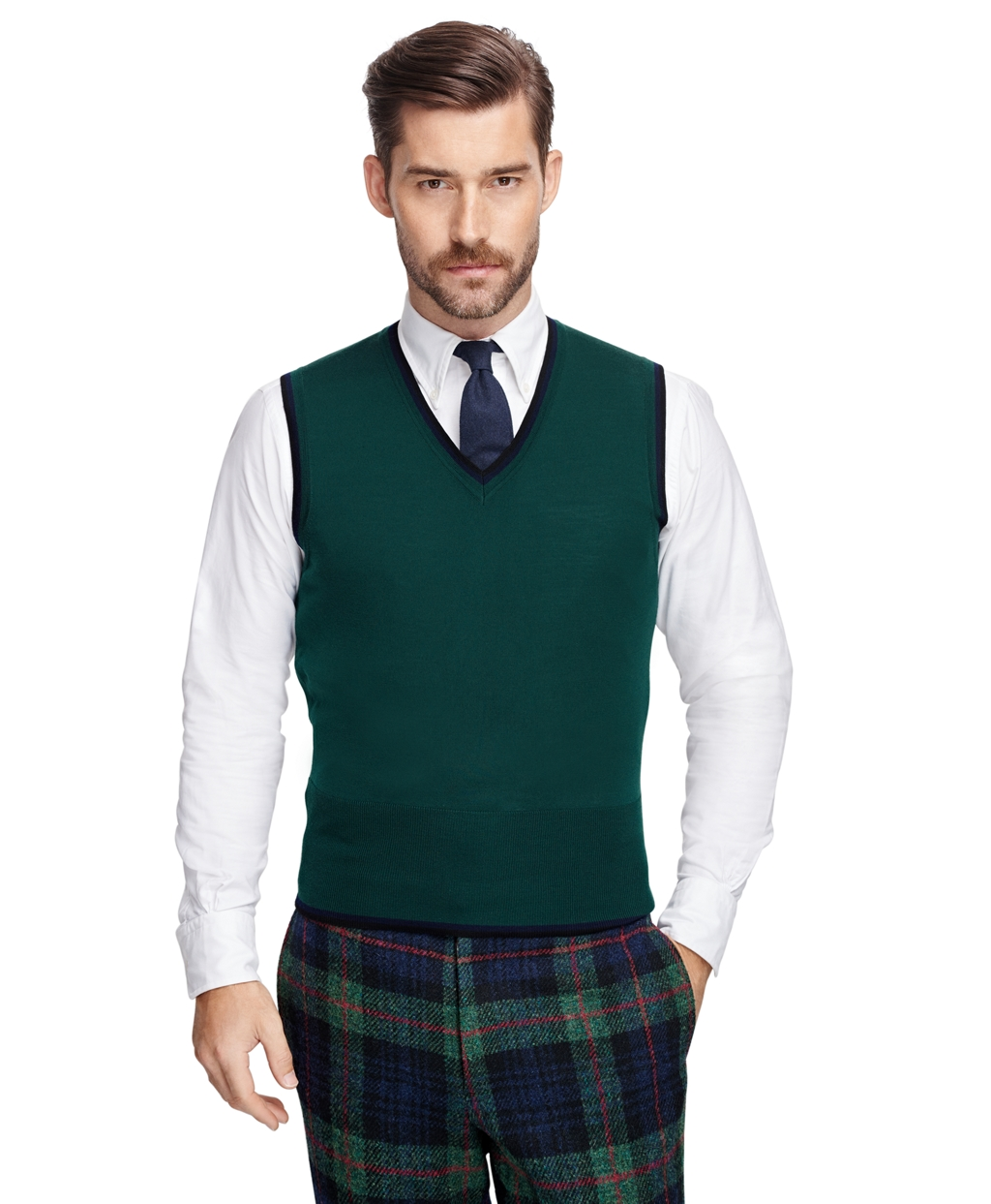 Men's Dark Green Tipped Button-Front Sweater Vest | Brooks Brothers