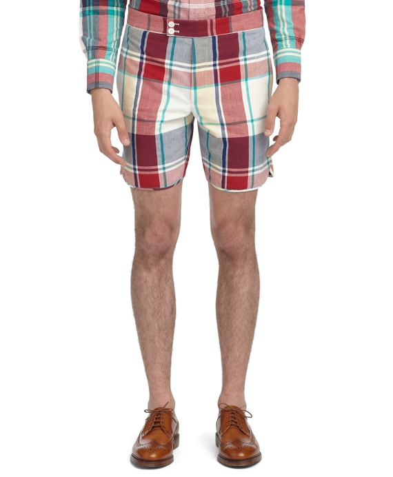 MADRAS WASHED LARGE PLAID SHORTS Red-Navy-Green