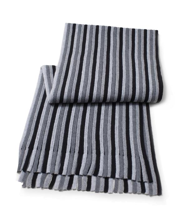 Stripe Wool Scarf with Fringe Grey