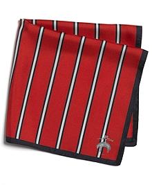Red Stripe Silk Pocket Square
