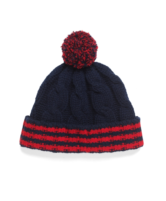 Cable Knit Hat Navy-Red