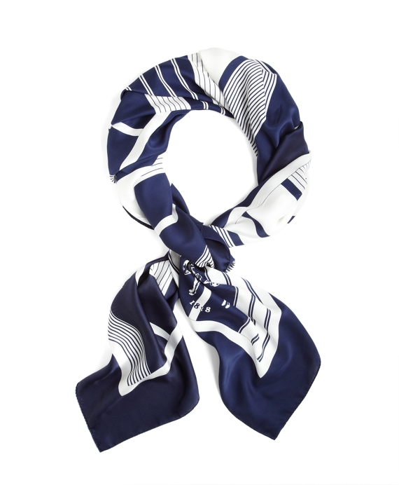 NAVY AND WHITE SILK SCARF Navy-White