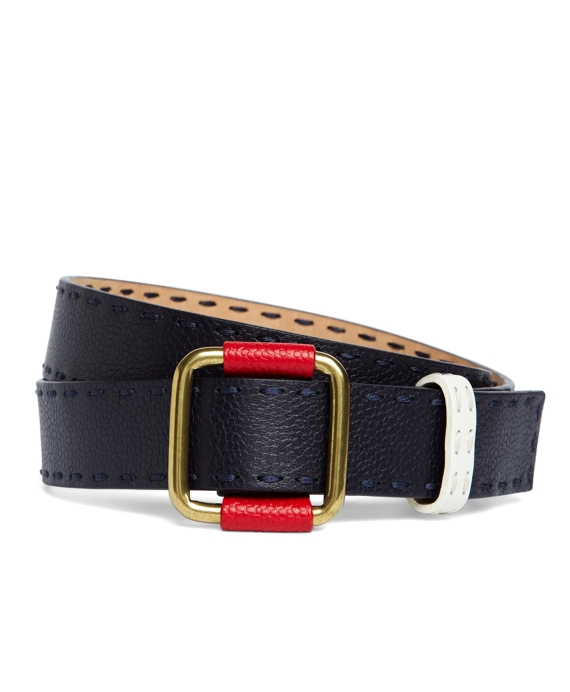 STITCHED LEATHER BELT Navy-Red-White