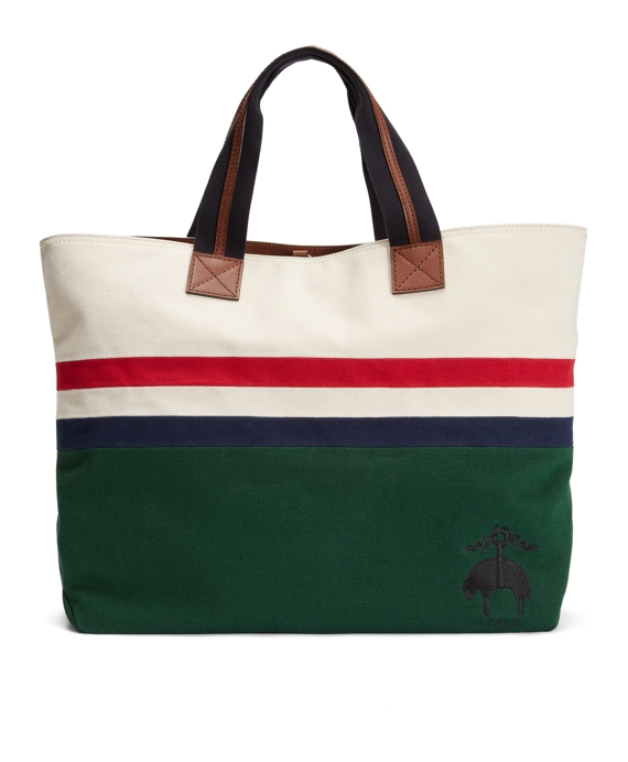 STRIPED CANVAS TOTE Green