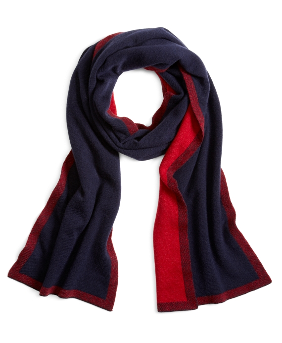 CASHMERE TWO-TONE SCARF Navy-Red