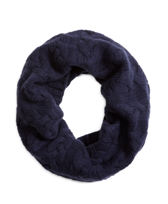 CASHMERE CABLE KNIT COWL Navy