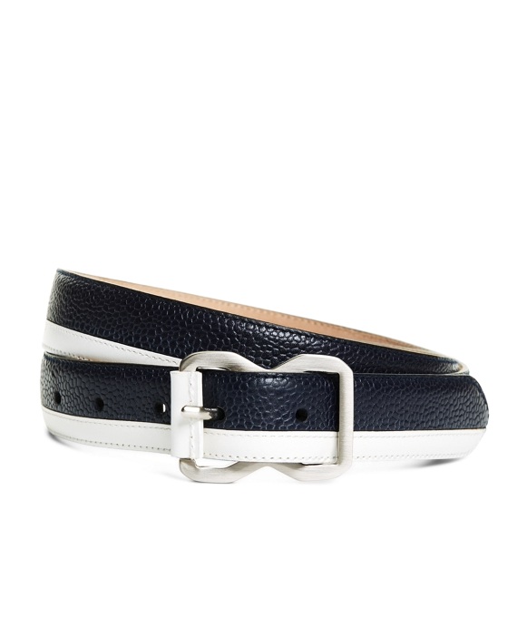 LEATHER BELT Navy-White