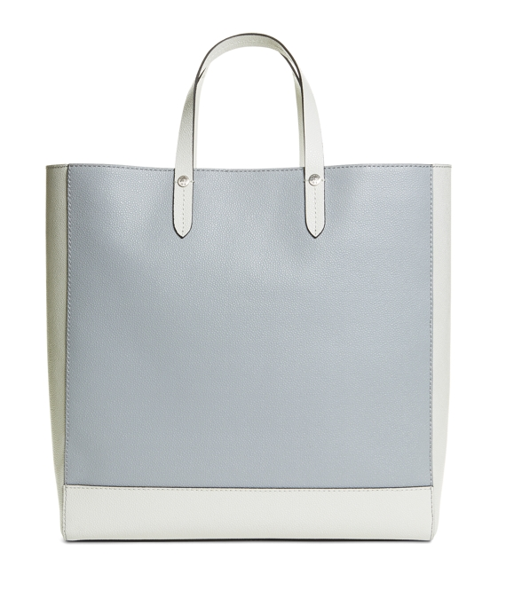LEATHER SPECTATOR TOTE Grey-White