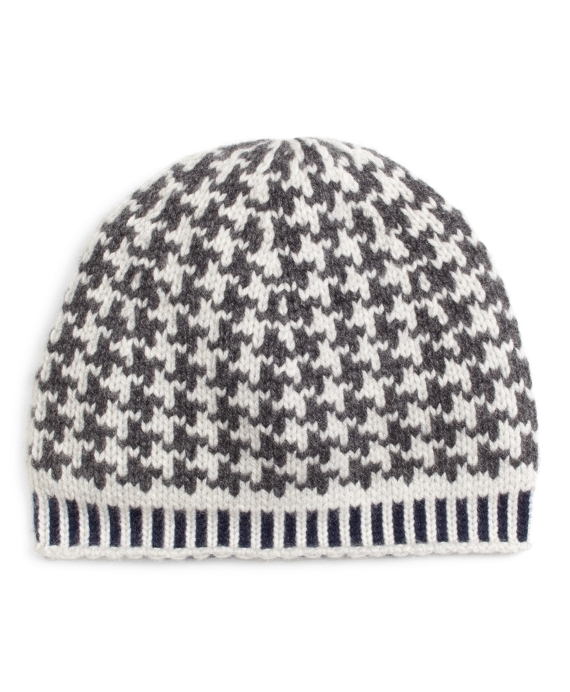 Grey and White Cashmere Hat Grey-White