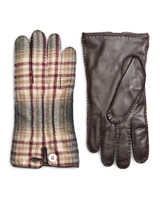 Wool Plaid and Leather Gloves with Button Closure Burgundy-Green-Khaki