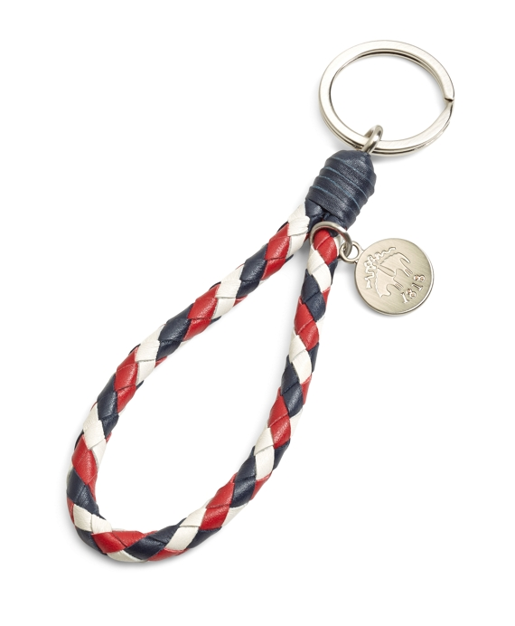Red White and Navy Braided Key Fob Red-White-Navy
