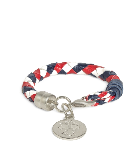 Braided Leather Bracelet Red-White-Navy
