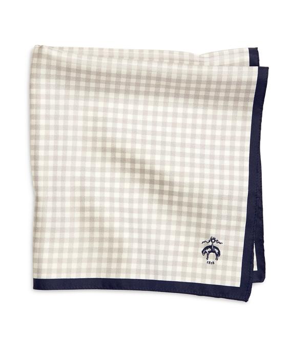 Gingham Pocket Square Grey