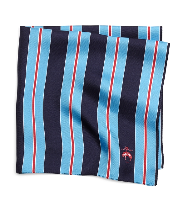 Stripe Pocket Square Blue Multi