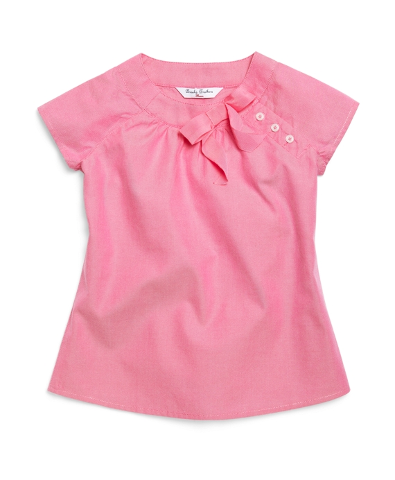 Short-Sleeve Oxford Bow Blouse Bright Pink