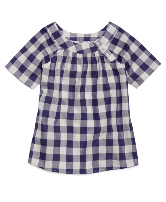 Short-Sleeve Gingham Basketweave Blouse Blue-White