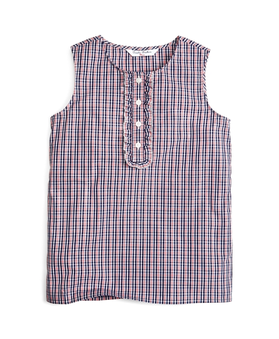 Checked Sleeveless Blouse Blue Multi