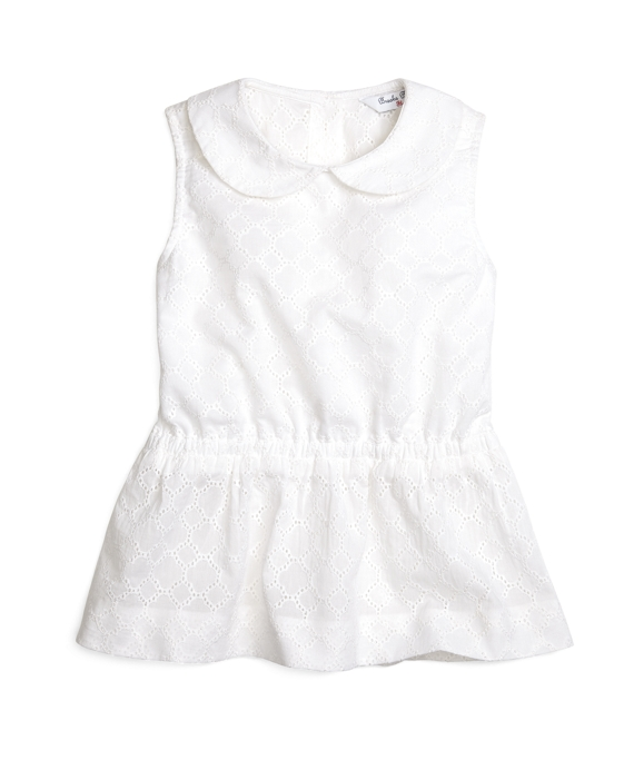 Sleeveless Eyelet Rounded Collar Blouse White