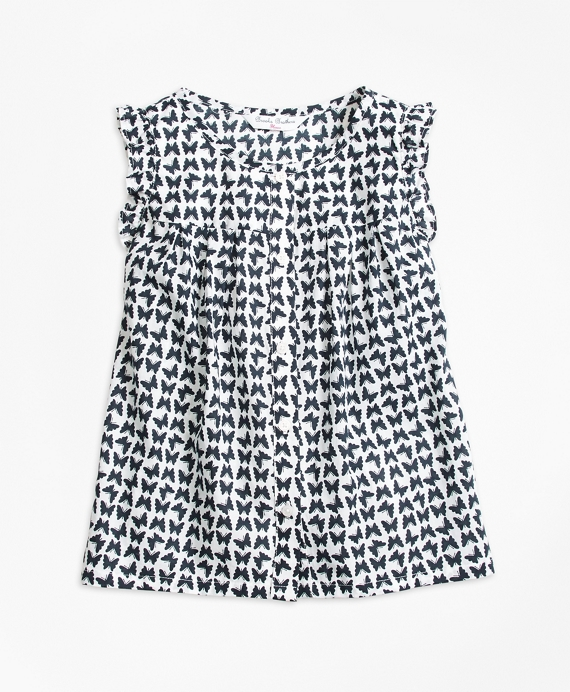 Cotton Butterfly Print Sleeveless Blouse