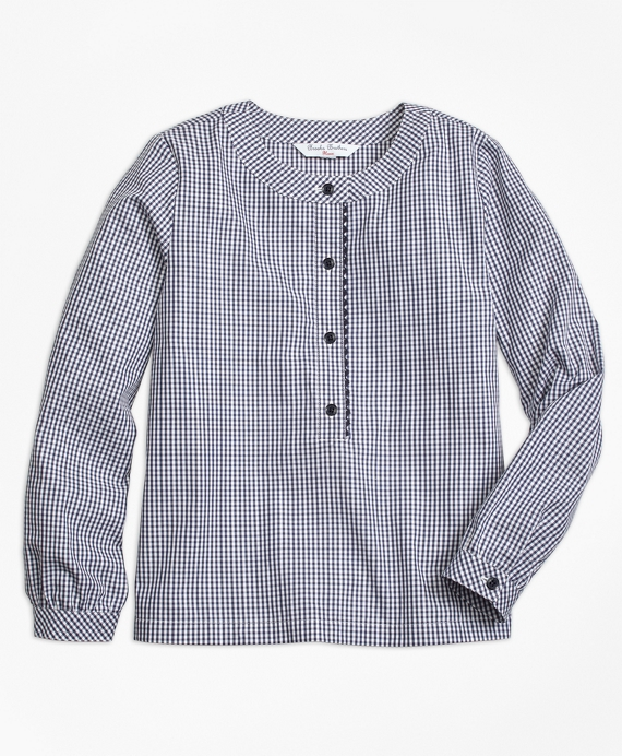 Cotton Gingham Blouse Navy-White