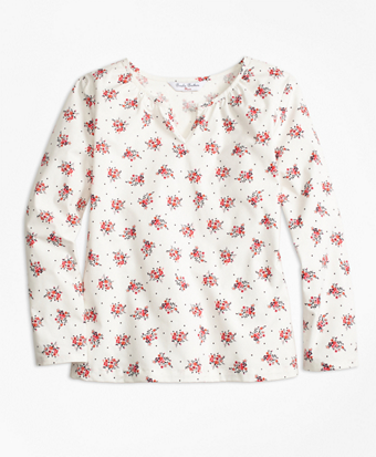 Floral Printed Cotton Stretch Blouse