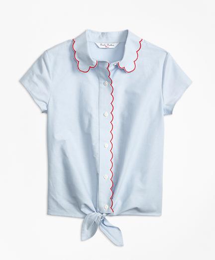 Cotton Oxford Scalloped Trim Shirt