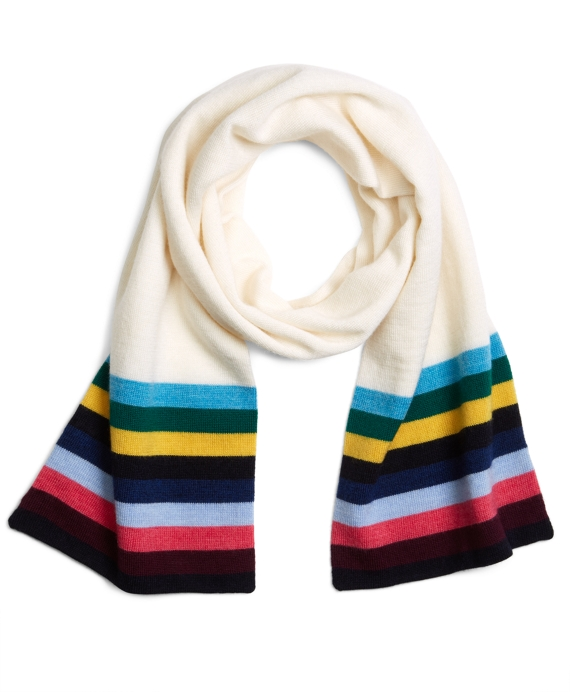 Striped Scarf Ivory-Multi