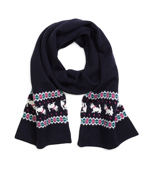 Scotty Dog Fair Isle Scarf Navy