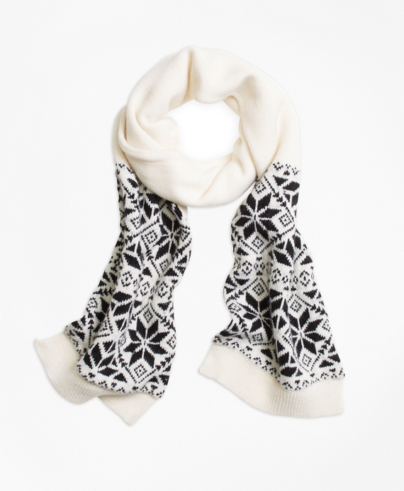 Wool Blend Snowflake Fair Isle Scarf White-Black