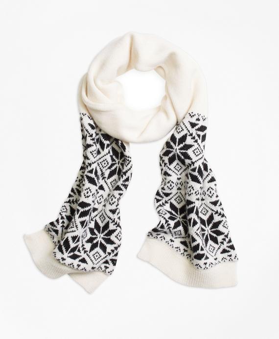 Wool Blend Snowflake Fair Isle Scarf