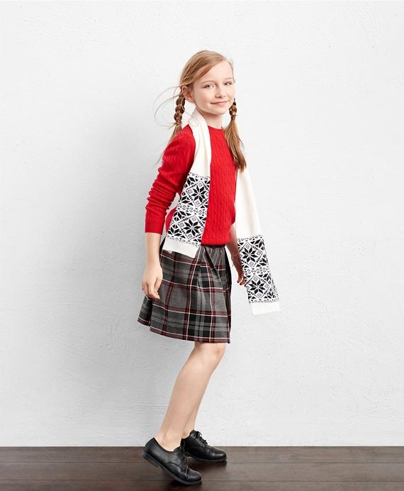 Girls' Wool Blend White and Black Snowflake Fair Isle Scarf ...