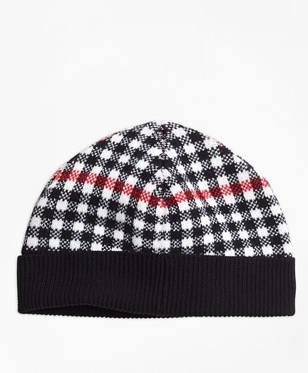Wool Blend Windowpane Hat
