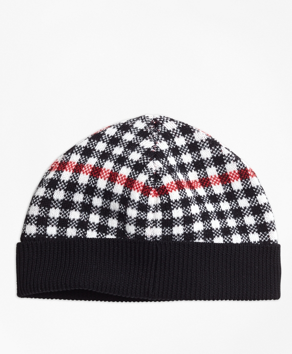 Wool Blend Windowpane Hat Black-Red