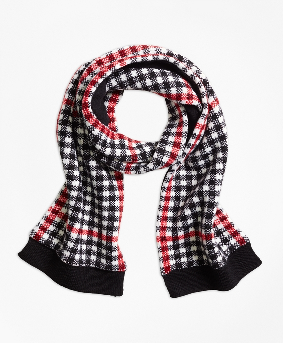 Wool Blend Windowpane Scarf Black-Red