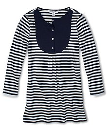 Long-sleeve knit dress in a cool all-over stripe pattern. Made of cotton. Solid knit bib insert with button placket. Contrast solid cuffs. Dress hits above the knee. Machine wash. Imported.