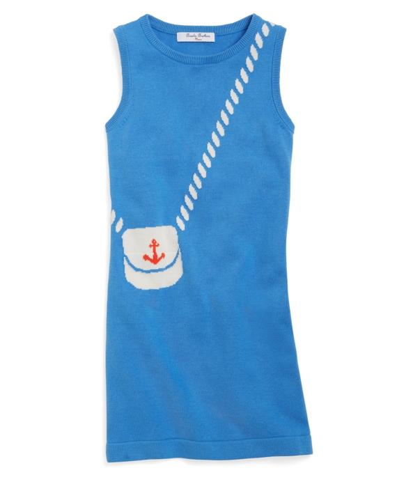 Sleeveless Intarsia Supima® Cotton Sweater Dress Blue