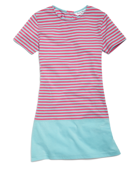 Short-Sleeve Color-Block Dress Pink-Blue