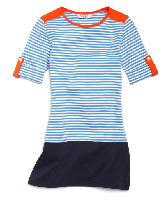 Short-Sleeve Striped Knit Dress Blue-White