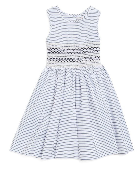 Sleeveless Striped Smocked Dress Blue