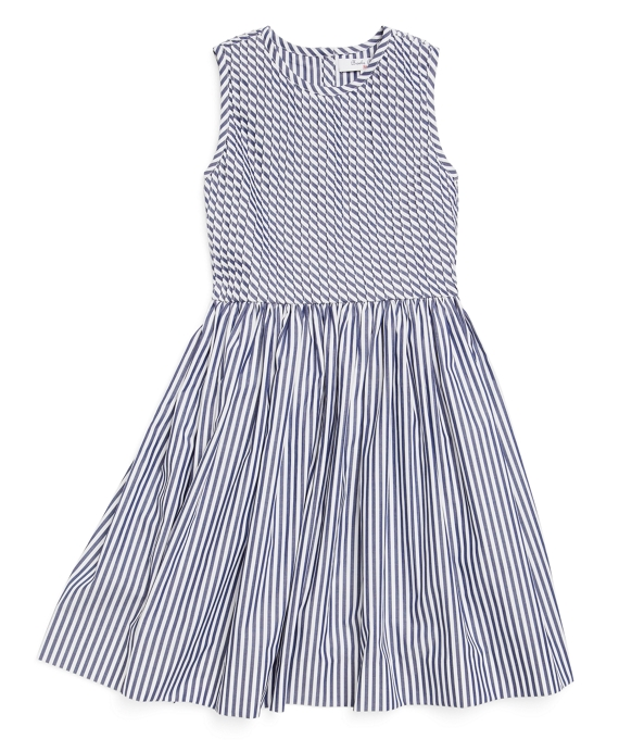 Striped Pleated Dress Navy