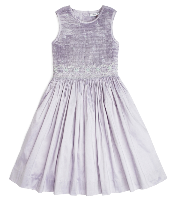 Sleeveless Floral Taffeta Smocked Dress Light Purple
