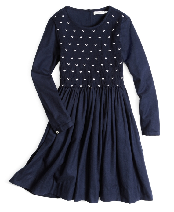 Bird's-Eye Smocked Dress Navy