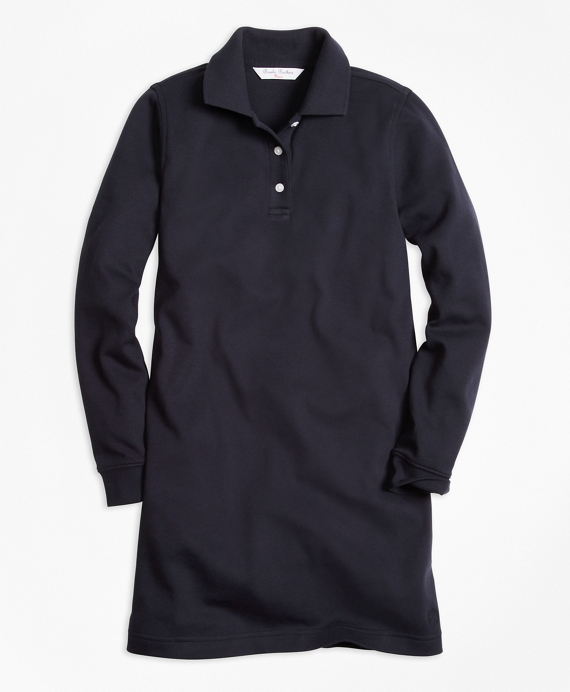 Long-Sleeve Polo Dress Navy