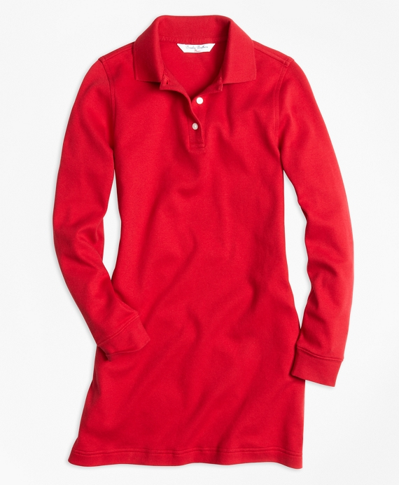 Long-Sleeve Polo Dress Red