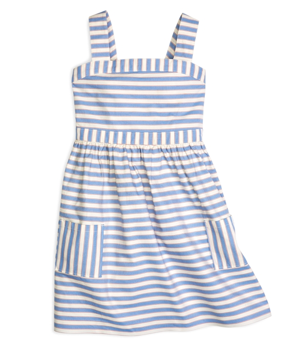 Blue Poppy Stripe Dress Blue