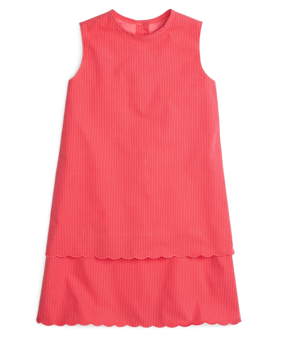 Scalloped Seersucker Shift Dress Watermelon